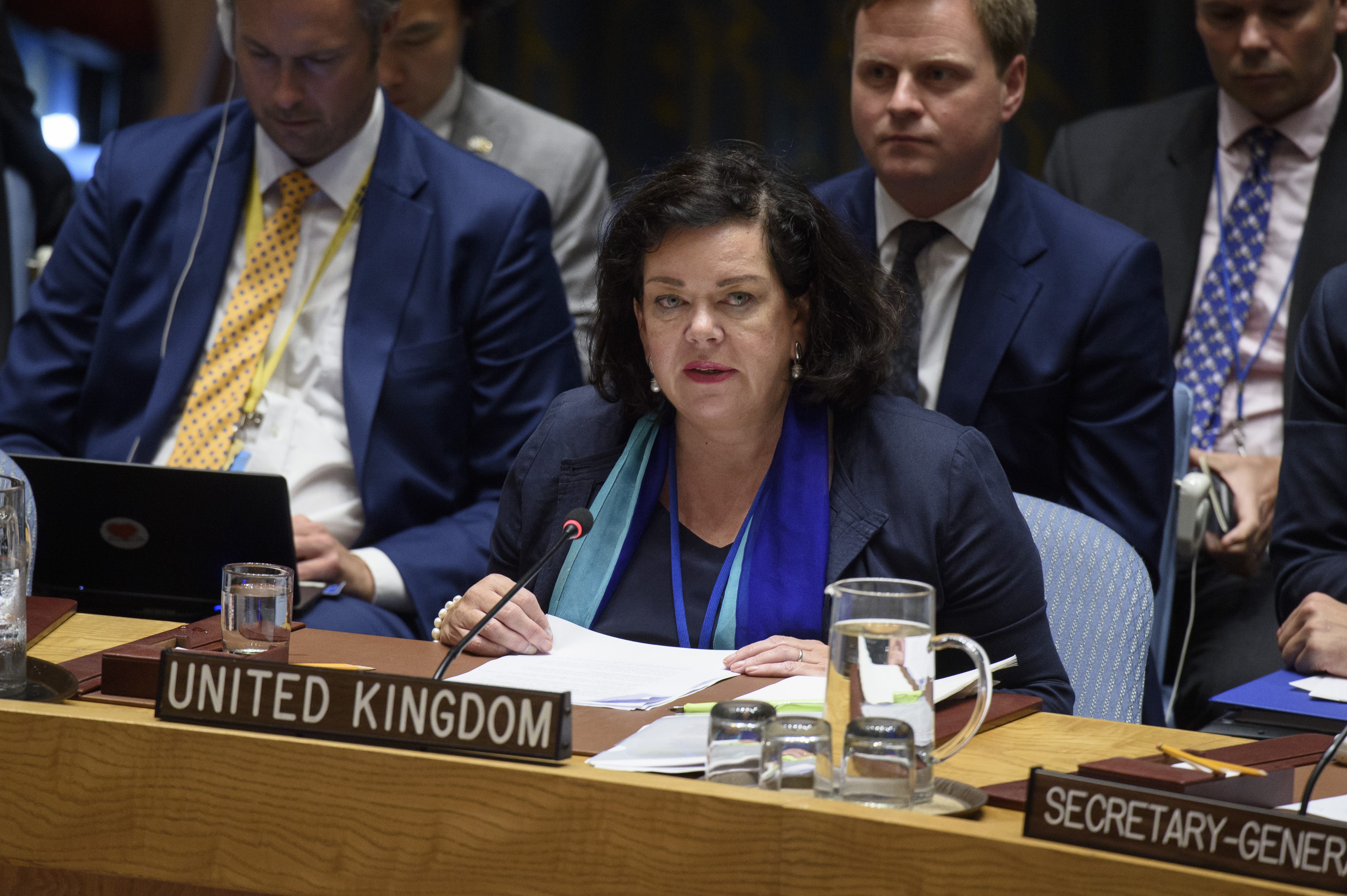 Karen Pierce, Permanent Representative of the United Kingdom to the UN, addresses the Security Council. Credit: UN Photo/Loey Felipe