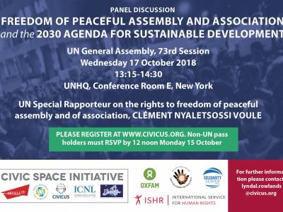 UN Panel Discussion, Freedom of peaceful assembly and association and the 2030 Agenda for Sustainable Development