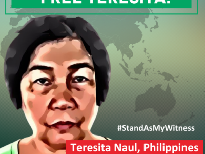 Rights organisations call for release of Teresita Naul ahead of court case & global campaign launch
